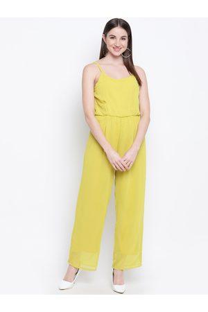 Mayra Women Mustard Yellow Solid Basic Jumpsuit