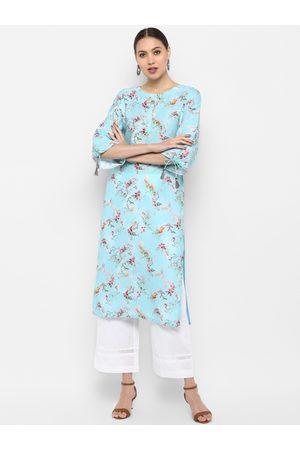 Janasya Women Kurtas - Women Blue & Pink Floral Printed Straight Kurta