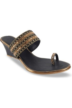All Things Mochi Women Black & Gold-Toned Woven Design Sandals
