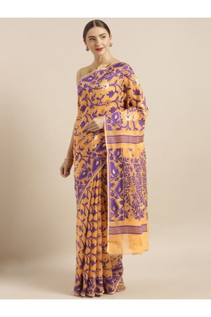 VASTRANAND Jamdani Peach & Purple Cotton Silk Women's Sarees