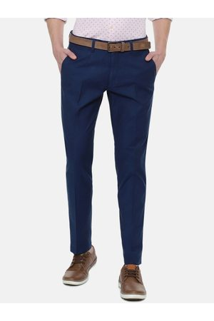Louis Philippe Men Navy Blue Slim Fit Solid Knitted Regular Trouser
