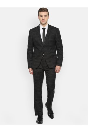 V Dot Men Black Checked Skinny-Fit Single-Breasted Formal Suit