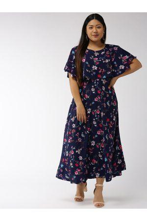 U&F Women Navy Blue & Pink Printed Maxi Dress