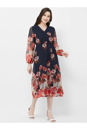 MISH Women Navy Blue Floral Print Georgette Fit and Flare Dress