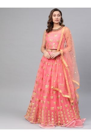 Chhabra 555 Women Pink & Golden Made to Measure Embroidered Lehenga & Choli with Dupatta
