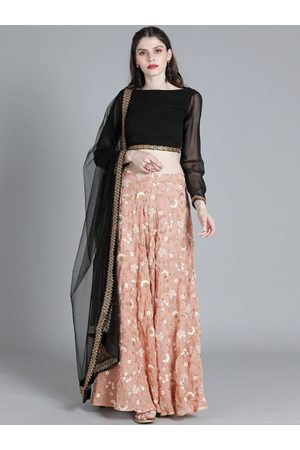 Bollywood Vogue Black & Peach-Coloured Embellished Made to Measure Lehenga & Blouse with Dupatta