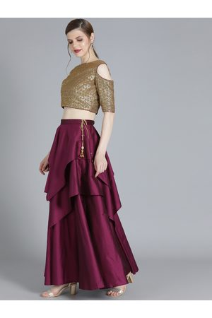 Bollywood Vogue Golden Made to Measure Layered Lehenga with Blouse