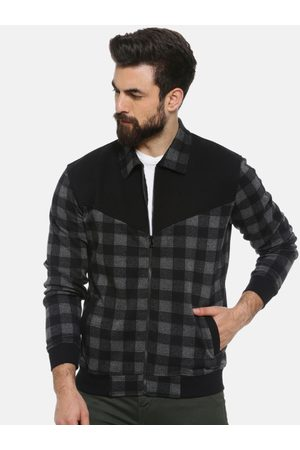 Campus Men Charcoal Grey Checked Windcheater Bomber