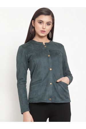 KASSUALLY Women Green Solid Suede Tailored Jacket
