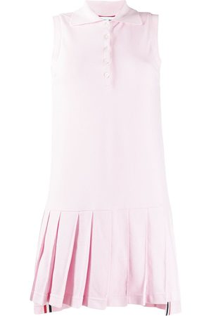 Thom Browne Classic Pique Sleeveless Pleated Tennis Dress