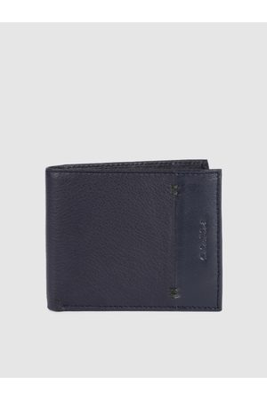 ColorPlus Men Blue Solid Two Fold Leather Wallet