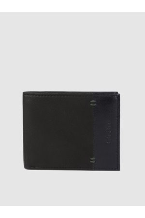 ColorPlus Men Black Solid Two Fold Leather Wallet