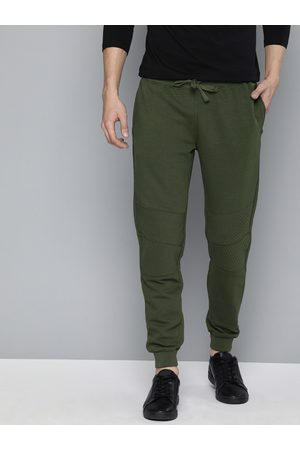 Mast & Harbour Men Olive Green Solid Joggers