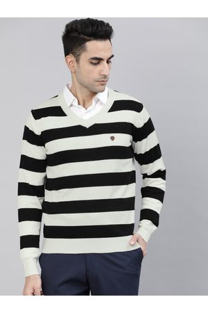 Raymond Weil Men Black & Off-white Striped Pullover Sweater