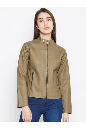 Jump Women Olive Green Solid Lightweight Leather Jacket