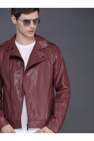 WROGN Men Burgundy Solid Biker Jacket