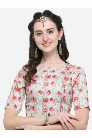 Janasya Women Green & Red Printed Saree Blouse