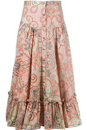 Etro Floral print tiered midi skirt