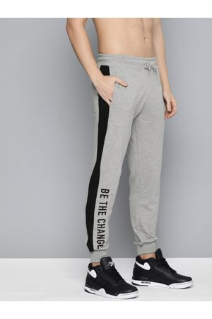 HERE&NOW Men Grey Melange Solid Joggers With Side Stripe
