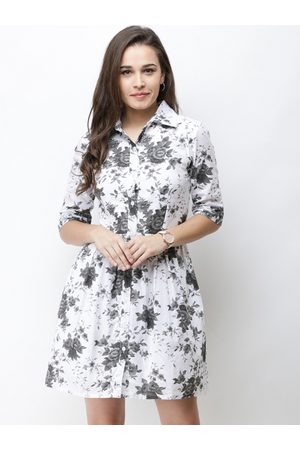 Cation Women White Floral Printed Shirt Dress