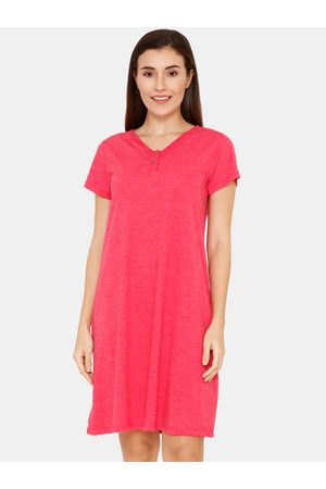Zivame Women Pink Guipure Poly Knit Cotton Knee Length Night Dress