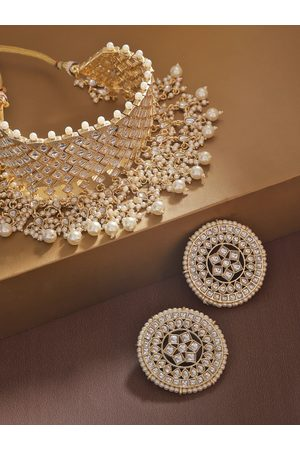 adidas Off-White Gold-Plated Kundan-Studded & Beaded Handcrafted Jewellery Set