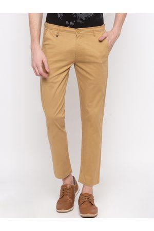 SPYKAR Men Khaki Slim Fit Solid Regular Trousers