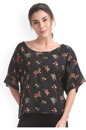 Cherokee Women Black Floral Printed Boxy Top