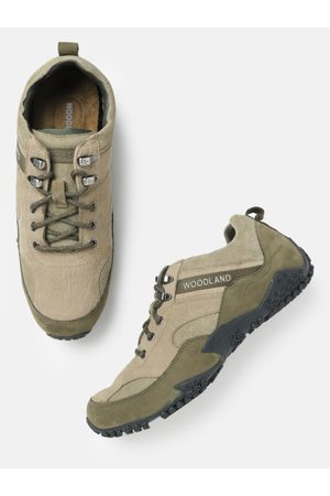 Woodland Men Khaki & Olive Green Nubuck Trekking Shoes