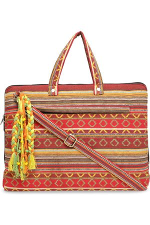 The House of Tara Women Red & Yellow Textured Handloom Woven Laptop Bag