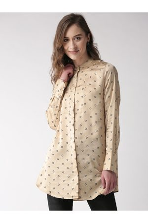 Marks & Spencer Women's Beige & Black Printed Longline Tunic