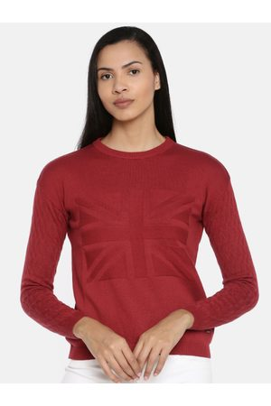 Pepe Jeans Women Maroon Solid Pullover Sweater