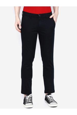 Giordano Men Navy Blue Smart Slim Fit Solid Regular Trousers