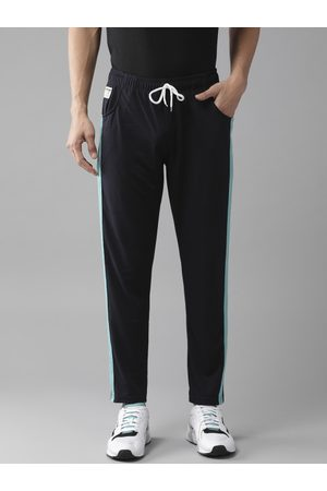 Hubberholme Men Navy Blue Solid Slim Fit Track Pants