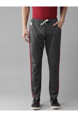 Hubberholme Men Charcoal Grey Solid Track Pants