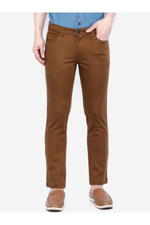 Giordano Men Khaki Smart Slim Fit Solid Regular Trousers