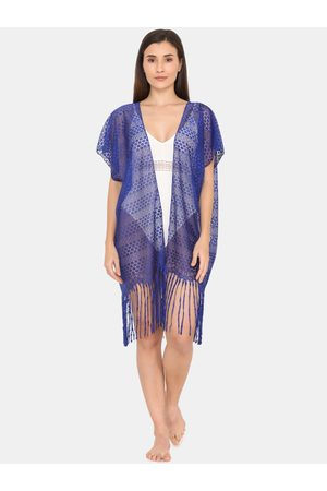 Zivame Women Blue Solid Mesh Cover-Up Dress