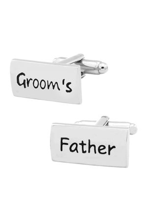 The Tie Hub Silver-Toned Rectangular Grooms's Father Cufflinks