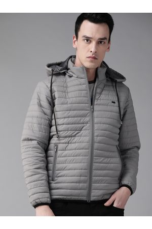 Roadster Men Grey Solid Quilted Jacket with Detachable Hood