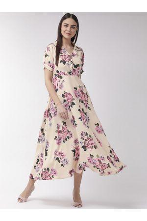 U&F Women Cream-Coloured & Pink Floral Print Maxi Dress