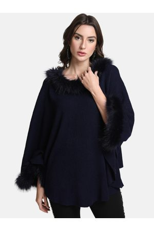 Kazo Women Navy Blue Solid Poncho Sweater
