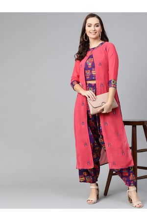 Pannkh Women Purple & Coral Pink Printed Top with Dhoti Pants & Layer