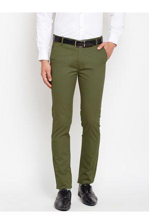HANCOCK Men Olive Green Slim Fit Solid Regular Trousers