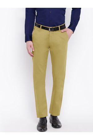 HANCOCK Men Beige Slim Fit Solid Regular Trousers