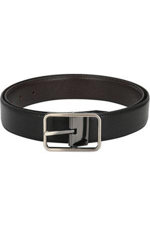 Calvadoss Men Black & Brown Textured Reversible Belt