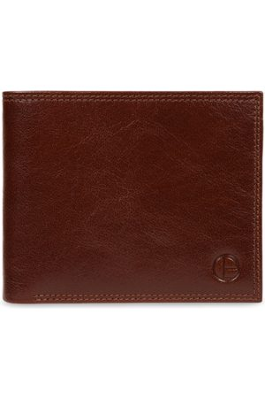 PURE LUXURIES LONDON Men Tan Brown Textured Two Fold Wallet