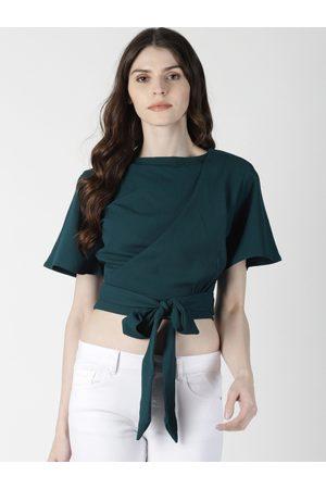 Aara Women Green Solid Styled Back Crop Top