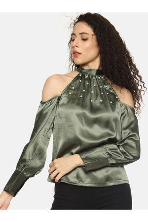 Aara Women Olive Green Embellished Top