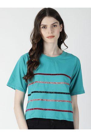 Aara Women Blue Striped Top