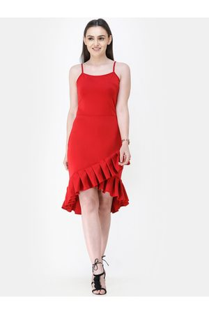 Cation Women Red Solid Sheath Dress